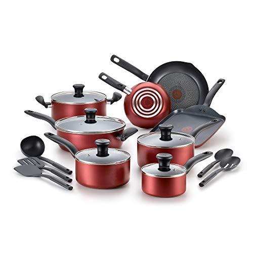 T-Fal Batería de Cocina B165SI64 Initiative con el mejor antiadherente para cocinar sin aceite, color Rojo, 18 Piezas
