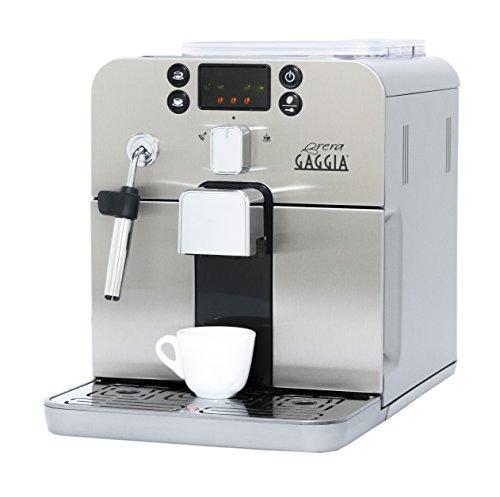 Gaggia Brera - Máquina de espresso automática en color plateado. Pannarello Varita espumosa para bebidas latte y capuchino. Espresso de café premolido o entero.