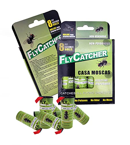 LIGHTSMAX Fly Catcher Trap Fly Trap Fly Bait Fly Paper Ribbon Cinta adhesiva Fly Fly Tiras de papel Fly Sticky Fly Strips Flying Killer 8 pks