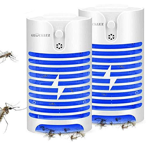 Glückluz Lámpara Mosquito Killer, Electrico UV Lámpara Anti Mosquitos Socket de Luz Lámpara Trampa de Insectos Mata Mosquitos Insectos Polillas Pequeña Mosca (2PACK)