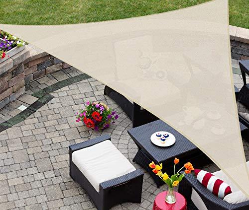 ASTEROUTDOOR - Toldo Triangular de 3.6 x 3.6 x 3.6 m con Bloqueo de Rayos UV, para Patio, césped, jardín, Actividades al Aire Libre, Color Crema