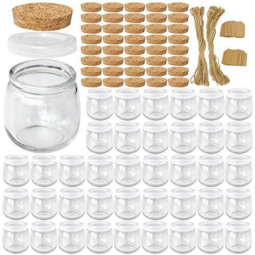 Syntic 40 tarros de cristal de 225 ml, tarros de yogur con tapas de polietileno y tapas de corcho, tarros transparentes ideales para mermelada, miel, especias, mousse, bricolaje y arte
