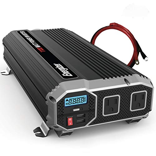 Energizer 1100 Watts Power Inverter 12V to 110V, Modified Sine Wave Car Inverter, DC to AC Converter with Dual 110 Volts AC Outlets and 2 USB Ports 2.4A ea - METLab Approved Under UL Std 458