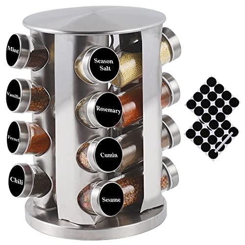 Organizador giratorio de especias para encimera con 16 tarros, organizador giratorio para condimentos para armario, torre de especias de pie de acero inoxidable para cocina
