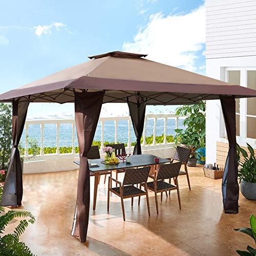 PHI VILLA Toldo de 13 x 13 pies, con bloqueo UV, con kits de hardware, toldo para patio al aire libre, jardín, eventos, color marrón